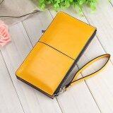 ซื้อ Victory Fashion Woman Long Han Edition Handbag Candy Color Shiny Leather Mobile Phone Wallet Yellow Intl จีน