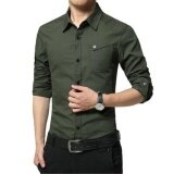 Victory New Fashion Men Formal Shirts Long Sleeve Business Affairs Shirt Han Edition Pure Cotton Shirt Army Green Intl จีน