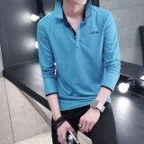 ขาย Victory New Fashion Men เสื้อโปโลแขนยาวสีทึบขนาดใหญ่ ขนาด สีฟ้า ออนไลน์