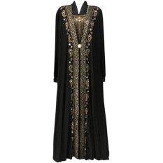 ซื้อ Victory หญิงมุสลิมสีดำเจาะร้อนพิมพ์คำกระโปรง Robe มุสลิม Eid Abaya สีเหลือง สนามบินนานาชาติ ออนไลน์ ถูก