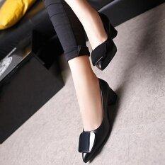 ขาย ชัยชนะวรรคใหม่ปากตื้นรองเท้าส้นสูงหยาบเดียวชี้ แฟชั่นผู้หญิง สีดำ ออนไลน์ จีน