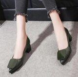 ความคิดเห็น ชัยชนะวรรคใหม่ปากตื้นรองเท้าส้นสูงหยาบเดียวชี้ แฟชั่นผู้หญิง สีเขียว