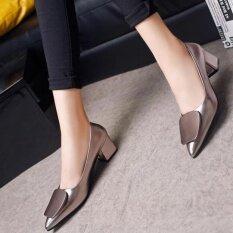 ขาย ซื้อ ชัยชนะวรรคใหม่ปากตื้นรองเท้าส้นสูงหยาบเดียวชี้แฟชั่นผู้หญิง สีเทา ใน จีน