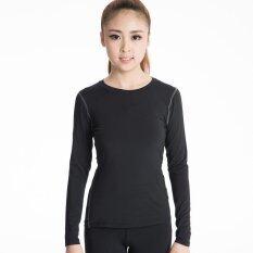 ผู้หญิงที่ประสบความสำเร็จแขนยาวเสื้อชั้นกระชับฟิตเนสโยคะเสื้อยืดเสื้อผ้าดูดซับความชุ่มชื้น (สีดำ).