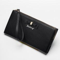 ขาย ซื้อ Victory Woman Long Zipper Han Edition Bowknot Wallet Black Intl จีน