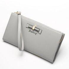 ส่วนลด Victory Woman Long Zipper Han Edition Bowknot Wallet Grey Intl
