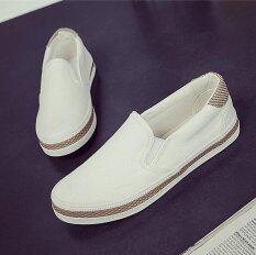 ขาย Victory Women S Fashion Flat Shoes Slip Ons Walking Casual Shoes Canvas Shoe Surface White Intl