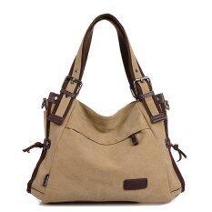 ขาย Vintage Canvas Shoulder Bag Women Handbag Casual Bag Khaki Intl Unbranded Generic ใน Thailand