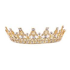 โปรโมชั่น Vintage Crystal Gold Crown Bridal Headwear Wedding Tiara Hair Accessories ใน จีน