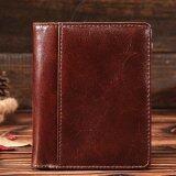 ขาย Vintage Genuine Top Layer Leather Men S Bifold Wallet Top Layer Cowhide Card Holder Coin Purse Zipper Bag Intl ถูก ใน จีน