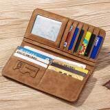 ขาย Vintage Long Soft Pu Leather Wallet Male Purse Large Capacity Card Holders เป็นต้นฉบับ