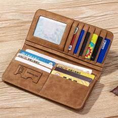 โปรโมชั่น Vintage Long Soft Pu Leather Wallet Male Purse Large Capacity Card Holders Empireera ใหม่ล่าสุด