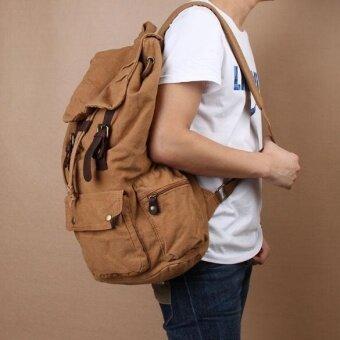 139f104dcd1 การตรวจสอบของ Vintage Men Women Casual Canvas Backpack Schoolbag Hiking  Travel Bag Brown - intl ซื้อ - มีเพียง ฿585.13