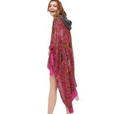 วินเทจชีฟองผู้หญิงเสื้อคาร์ดิแกน Kimono Boho ทรงหลวมยาวพิมพ์ลาย Outerwear บิกินี่ชายหาดปกคลุม Rose - Intl By Tomtop.
