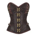 ส่วนลด Vintage Women Corset Steampunk Overbust Waist Trainer Cincher Steel Boned Body Shaper Girdle Bustiers Shapewear Brown Intl