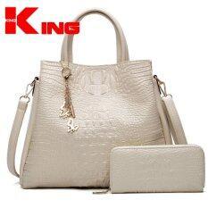 ซื้อ Viuidueture Womwen Tote Hand Bag Faux Crocodile Leather Bags Set Of 2 Beige Intl Viuidueture ถูก
