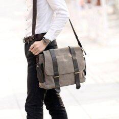 ราคา Vmon กระเป๋าสะพายข้าง ผ้าแคนวาส ทรง Messenger สีกากี ใหม่