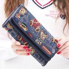 ราคา Vn Fashion กระเป๋าสตางค์ใบยาว กระเป๋าเงินผู้หญิง กระเป๋าสตางค์น่ารัก ลายหมี รุ่น Vw 033 สีกรม ใหม่ล่าสุด