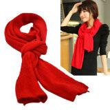ซื้อ Vococal ผู้หญิงแฟชั่นผ้าพันคอถักไหมพรมอุ่นไอหนาวอนันต์ผ้าคลุมไหล่สีแดง ใหม่ล่าสุด