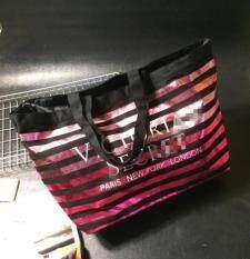ขาย Vs Women Swim Tote Beach Bag Pink Black Stripes Big Size For Sport Gym Intl ออนไลน์