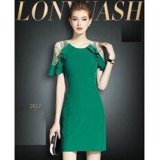 Vve Fashions ชุดเดรสแฟชั่น ชุดทำงาน คอกลม แขนเป็นระบาย ด้านบนช่วงแขนเป็นผ้าซีทรูปักลาย สีเขียว เป็นต้นฉบับ
