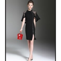 Vve Fashions ชุดเดรสแฟชั่น แขนลูกไม้ถึงด้านหลัง ซิปด้านหน้า คอจีน Dress สีดำ เป็นต้นฉบับ