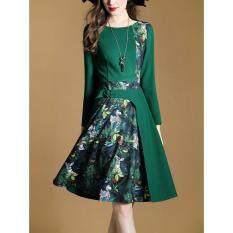 ทบทวน Vve Fashions เดรสแฟชั่น Dress ทำงาน แขนยาวตกแต่งด้วยเข็มขัด สีเขียว