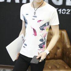 ราคา เสื้อยืดเกาหลีสีขาวในช่วงฤดูร้อนชาย สีขาว W06 ใหม่ ถูก