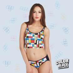 Wacoal Color block เซ็ทชุดชั้นในกางเกงชั้นใน บราสวมหัว (สีดำ/BLACK) - WH3A02BL-WU1407BL