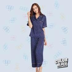 Wacoal Color block ชุดนอนคอฮาวาย แขนสั้น กางเกงขายาว (สีน้ำเงิน/BLUE) - WN7C07BU