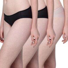 Wacoal Best Seller Feel Free panty 1 เซ็ท 3 ชิ้น (สีเบจ,สีดำ) - WU1738BEX1 + WU1738BLX2