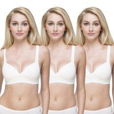 Wacoal Lingerie Best seller Super soft bra  บราสวมหัว 1 เซ็ท 3 ชิ้น (สีครีม 3 ชิ้น) - WH9A15CR X3