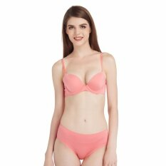 Wacoal Smooth bra Fixers เซ็ทชุดชั้นในกางเกงชั้นใน SEAMLESS BRA  4/5 CUP (สีส้มอมชมพู/ORANGE PINK) - WB7927OP+W67927OP