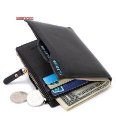 ซื้อ กระเป๋าสตางค์กระเป๋าสตางค์เหรียญกระเป๋าสตางค์หนังใส่นามบัตร Bifold สำหรับผู้ชายสีดำ ออนไลน์ ถูก