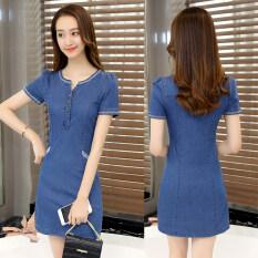 ชุดเดรส ผ้ายีนส์ผู้หญิง แบบบาง Wanqi (เข้มผ้ายีนส์สีฟ้า) (เข้มผ้ายีนส์สีฟ้า).
