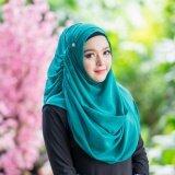 Waris Muslim ผ้าพัน2หน้า เนื้อผ้าชีฟองนำเข้า สีเขียว เป็นต้นฉบับ