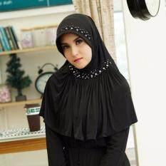 Waris Muslim ผ้าคลุมผมHe69 ผ้ายืดเกาหลี สีดำ ถูก