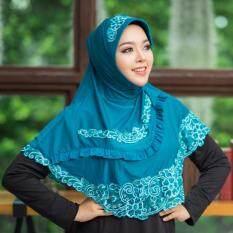 Waris Muslim ผ้าคลุมผมแบบสำเร็จ Hf70 สีฟ้า ถูก