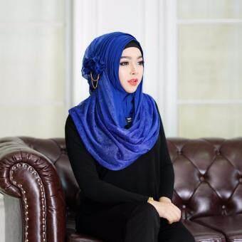 waris muslim ผ้าพันตีเกร็ด(pro96) - สีน้ำเงิน
