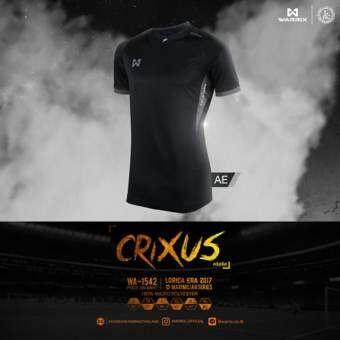 WARRIX SPORT เสื้อฟุตบอลพิมพ์ลาย WA-1542-AE(สีดำ-เทา)-