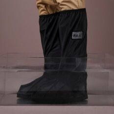 กันน้ำกันลื่นรถจักรยานยนต์ขี่จักรยานฝนรองเท้าฝนครอบคลุม ดำ นานาชาติ ถูก