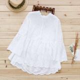 ราคา เสื้อเชิ้ตแขนยาวแฟชั่นสไตล์สาวป่า สำหรับผู้หญิง ผ้าฝ้าย100 สีขาว สีขาว Unbranded Generic เป็นต้นฉบับ