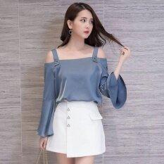 ขาย Wawa ฉานเสื้อชีฟองใหม่ปกที่ไม่มีสายหนังสลิง เสื้อเชิ้ตสีฟ้า Unbranded Generic