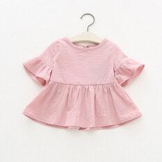 ขาย Wawa ฉานเกาหลีเสื้อเชิ้ตผ้าฝ้ายทารกรอบคอ สีชมพู ราคาถูกที่สุด