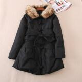 ราคา เสื้อโค้ทกันหนาวขนเป็ด ผู้หญิง ปกเสื้อเฟอขนฟู เข็มขัดเส้นใหญ่ สไตล์จีน สีดำ สีดำ Other