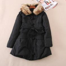 ขาย เสื้อโค้ทกันหนาวขนเป็ด ผู้หญิง ปกเสื้อเฟอขนฟู เข็มขัดเส้นใหญ่ สไตล์จีน สีดำ สีดำ ออนไลน์ ฮ่องกง