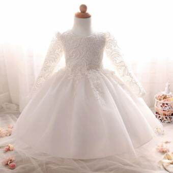 งานแต่งงานสาวดอกไม้ชุดสีขาวชุดเด็กชีฟองชุดเด็กผู้หญิงชุดเด็กดอกไม้ชุดโบว์ - สีขาว - นานาชาติ