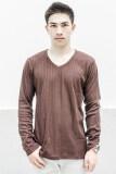 What S Up Dobby Long Sleeved T Shirt เสื้อแฟชั่น เสื้อผู้ชาย Brown ใหม่ล่าสุด