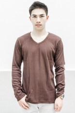 ซื้อ What S Up Dobby Long Sleeved T Shirt เสื้อแฟชั่น เสื้อผู้ชาย Brown What S Up ออนไลน์