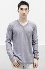 โปรโมชั่น What S Up Dobby Long Sleeved T Shirt เสื้อแฟชั่น เสื้อผู้ชาย Grey What S Up